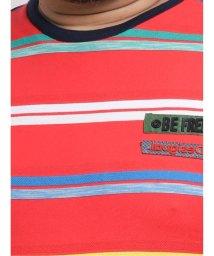 GRAND-BACK/【大きいサイズ】デシグアル/Desigual ポップ風ボーダー柄 ジャカード半袖Tシャツ/503051111