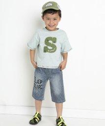 SLAP SLIP/デニム+ヒッコリー6分丈裏毛パンツ/503058112