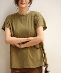 SAISON DE PAPILLON/フレンチスリーブのクルーネックコットンTシャツ/503124126