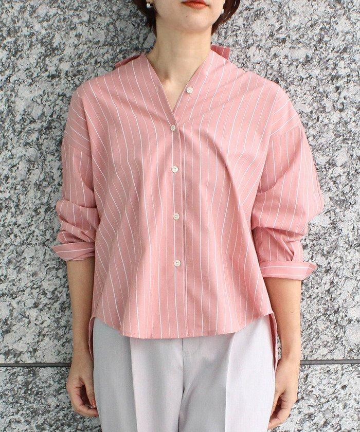 【60%OFF】 ビス クロワッサンスリーブ前開きシャツ レディース ピンク系(65) L 【ViS】 【セール開催中】