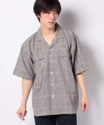 STYLEBLOCK/綿麻チェックオープンカラー開襟半袖ワークシャツビッグシャツビッグシルエットオーバーサイズ/503114974