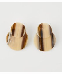 AZUL by moussy/STRIPE MARBLE ROUND EARRINGS/503134649