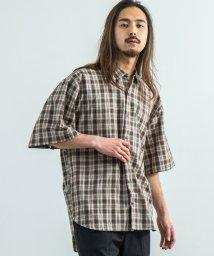 Rocky Monroe/総柄シャツ チェック ビッグシルエット メンズ オーバーサイズ 五分袖 半袖 ドルマン 日本製 8990/503136804