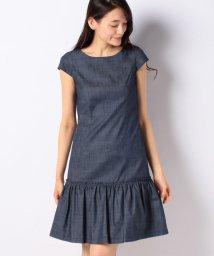 MISS J/【洗える】シャンブレーデニム ギャザー切り替えドレス/503132961