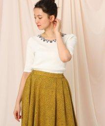 Couture Brooch/【WEB限定(LL)あり/洗える】スカラップネック刺繍5分袖カットソー/503139584