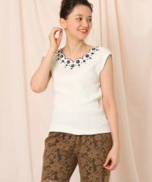 Couture Brooch/【洗える】フレンチスリーブスカラップネック刺繍フレンチスリーブ/503139677