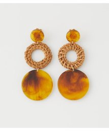 AZUL by moussy/MARBLE ROUND RATTAN EARRINGS/503140030