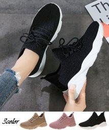 shoppinggo/スニーカー メッシュ レディース シューズ ランニング 運動靴 ウォーキングシューズ 通気性 蒸れない 靴 厚底 黒 疲れない/503141349