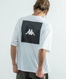 Rocky Monroe/Kappa カッパ Tシャツ メンズ レディース ブランドロゴ 白 半袖 バックプリント ビッグシルエット ゆったり リラックス ルーズ クルーネック カジュア/503144573