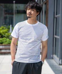 Nylaus/クルーネック ストライプ柄 プリント 半袖 Tシャツ/503147066