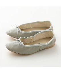 PORSELLI/【PORSELLI(ポルセリ)】イタリア製 DS バレエ NAPPA レザー バレエシューズ フラットパンプス リボン ラウンドトゥ LightGrey 靴 レ/503127785