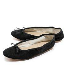 PORSELLI/【PORSELLI(ポルセリ)】イタリア製 DS バレエ SUEDE スエードレザー バレエシューズ フラットパンプス リボン ラウンドトゥ カラーNERO 靴/503127788
