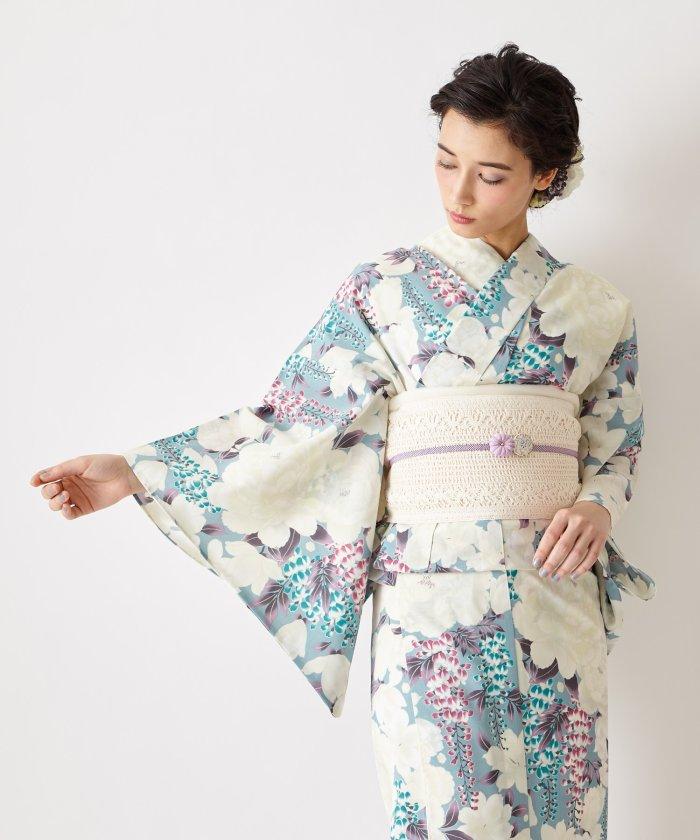 ふりふ 浴衣「花とあんみつ」 / 夏・祭り・花火 ユニセックス ブルーグレー FREE 【FURIFU】
