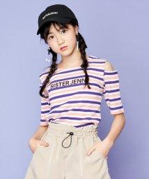 SISTER JENNI/肩あきマルチボーダー半袖Tシャツ/503148485