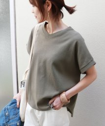 and Me.../綿ワッフル半袖VネックTシャツ/503148493