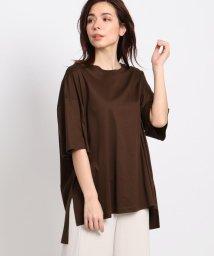 INDIVI/【Lサイズ別注/マシンウォッシュ】スムースクルーネックTシャツ/503150183