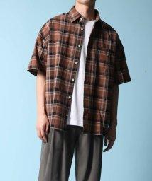 ADAM ET ROPE'/タータンチェック ビッグシルエット半袖シャツ/503152214