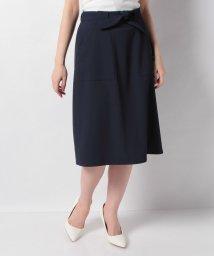 MISS J/【洗える】レクチュールギャバ ウエストリボンスカート/503151191