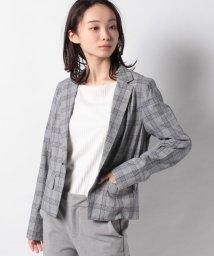 LAPINE BLEUE/【洗える】コットンリネン グレンチェックジャケット/503151208