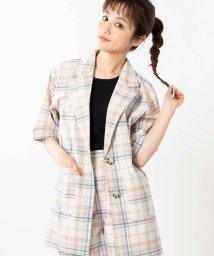 WEGO/WEGO/【セットアップ対応商品】5分袖チェックシャツジャケット/502992619