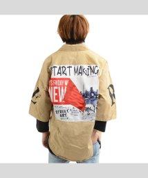 1111clothing/ビッグシルエット シャツ メンズ 七分袖 半袖シャツ メンズ レディース 五分袖 シャツ 七分袖シャツ オーバーサイズ シャツ デニムシャツ ビッグシルエット /503157839