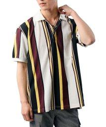 TopIsm/オーバーサイズストライプ半袖カノコポロシャツ/503159295