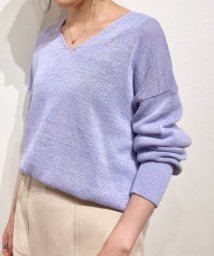 le.coeur blanc OUTLET/リネンテープヤーンVネックニット/503159852