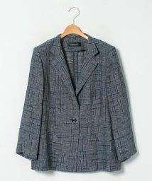 LAPINE ROUGE/【大きいサイズ】リネンチェックジャカードジャケット/503154780