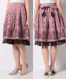 axes femme/リボン付パネル刺繍スカート/503156235