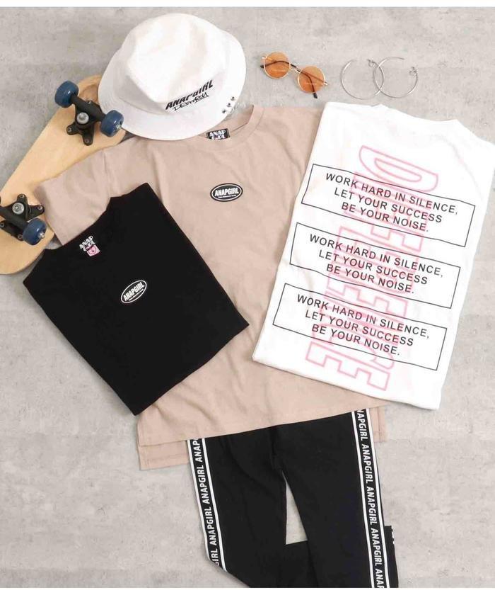 【50%OFF】 アナップガール シリコンワッペン付Tシャツ キッズ ブラック S 【ANAP GiRL】 【タイムセール開催中】