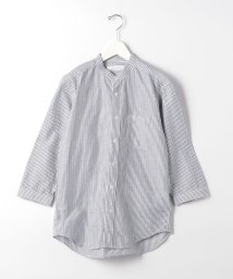 green label relaxing/CM 綿 麻 ストライプ バンドカラー 7分袖 シャツ/503145384