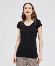 SISLEY/コットンモダールVネック半袖Tシャツ・カットソー/503155520