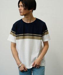 JUNRed/パネルボーダーTシャツ/503170587
