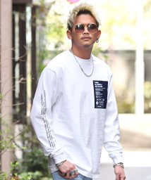 LUXSTYLE/袖ロゴプリントTシャツ/ロンT メンズ 長袖 Tシャツ 袖ロゴ プリント ボックスロゴ/503170714
