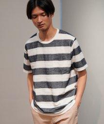 JUNRed/ヘリンボンボーダーTシャツ/503170807