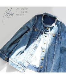 ARGO TOKYO/【ME LOVE】ノンカラービッグGジャン レディースファッション通販大人のゆるシルエット デニムジャケット ジャケット ジージャンシンプル レディースデニムジ/503171004