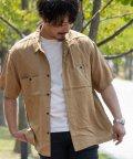 Nylaus/NYLAUS ビッグシルエット レーヨン 配色ステッチ 半袖 ワークシャツ ミリタリーシャツ オーバーシャツ/503172412