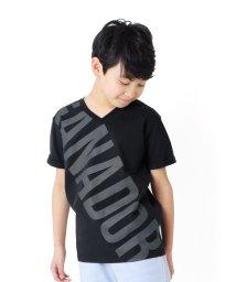 GLAZOS/天竺・ビックロゴVネック半袖Tシャツ/503172926