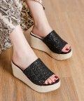 Shoes in Closet/グリッターアッパー  ジュート巻厚底ウェッジ  サボサンダル/503166666
