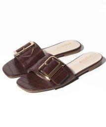 Shoes in Closet/ゴールドバックル スクエア フラットサンダル/503166667