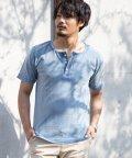 Nylaus/インディゴ染め ヘンリーネック 半袖 Tシャツ/503174860