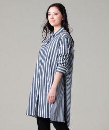 EVEX by KRIZIA/【ウォッシャブル】【接触冷感】ブロッキングストライプシャツ/503158679