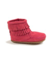 MINNETONKA KIDS/DOUBLE FRINGE SIDE ZIP BOOT HotPink【37115012】/503170737