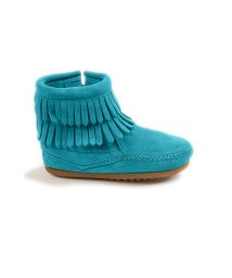 MINNETONKA KIDS/DOUBLE FRINGE SIDE ZIP BOOT Turquoise【37115013】/503170743