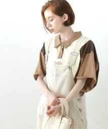 DOUBLE NAME/配色ポロ衿刺繍TEE/503179512