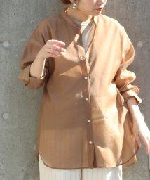 le.coeur blanc/シアーオーガンバンドカラーシャツ/502915742