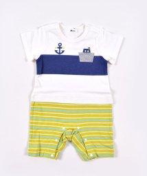 e-baby/天竺イカリプリントマルチボーダーロンパース/503049646