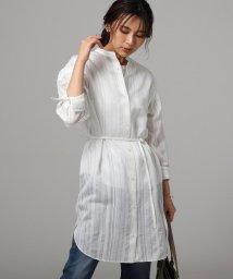 UNTITLED/【洗える】ドビーストライプロングシャツ/503185201