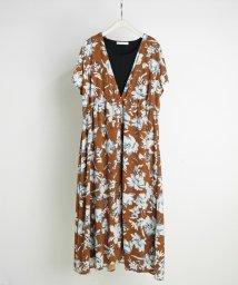 NICOLE white/花柄デシンレイヤードワンピース/503166240