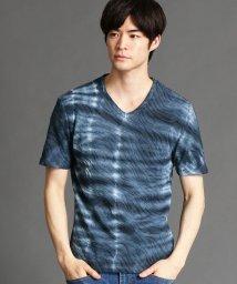 NICOLE CLUB FOR MEN/ウェ-ブ柄ジャカ-ドVネックTシャツ/503166267